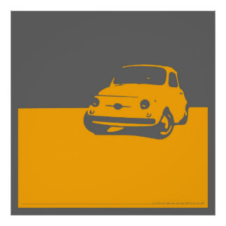 Fiat 500, 1959 - Yellow on gray Poster