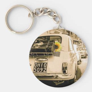 Fiat 500 Cinquecento in Italy, vintage road trip. Basic Round Button Keychain
