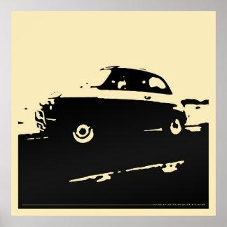 Fiat 500 classic - Black on light cream poster