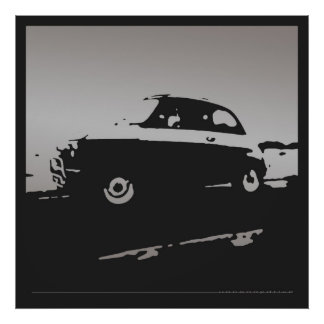 Fiat 500 classic - Silver on black poster