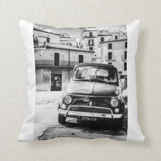 Fiat 500 in Italy, classic car pillow, cushion