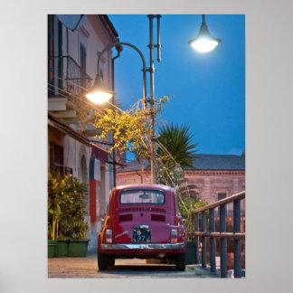 Fiat 500, vintage cinquecento, at night, Italy Poster