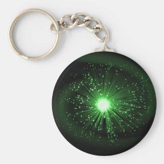 Fiber optic abstract. basic round button keychain