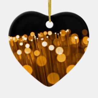 Fiber optic abstract. ceramic heart ornament