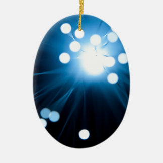 Fiber optic abstract. ceramic oval ornament