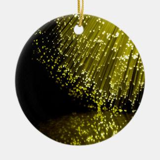 Fiber optic abstract. round ceramic ornament