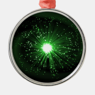 Fiber optic abstract. Silver-Colored round ornament