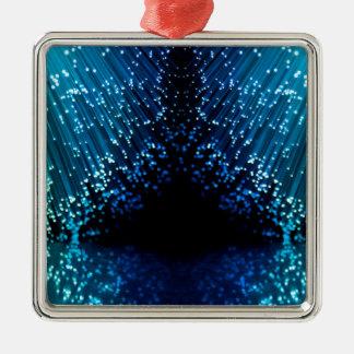 Fiber optic abstract. Silver-Colored square ornament