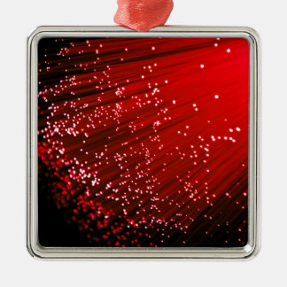 Fiber optic abstract. Silver-Colored square ornament