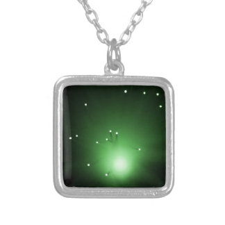 Fiber optic abstract. silver plated necklace