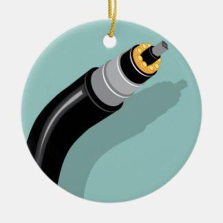 Fiber optic cable round ceramic ornament