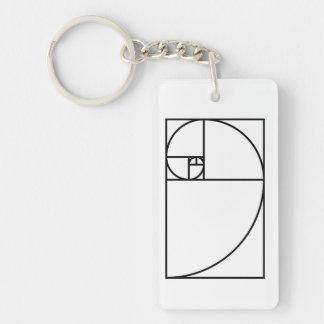 Fibonacci golden ratio - unique mathematical art keychain