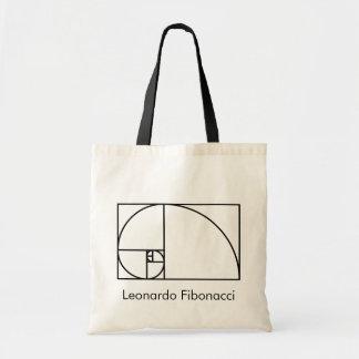 Fibonacci golden ratio - unique mathematical art tote bag