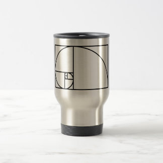 Fibonacci golden ratio - unique mathematical art travel mug