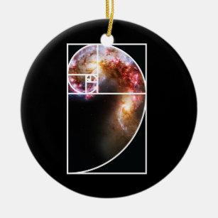 Fibonacci Spiral Galaxy Ceramic Ornament