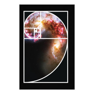 Fibonacci Spiral Galaxy Stationery Design
