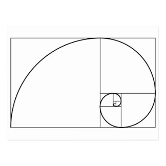 Fibonacci Spiral Golden Ratio Postcard