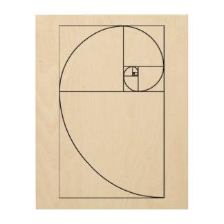 Fibonacci Spiral wood panel art Wood Print