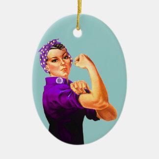 Fibromyalgia Awareness Rosie the Riveter Ceramic Oval Ornament