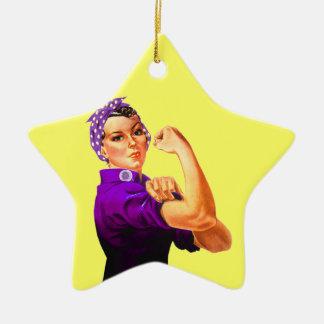 Fibromyalgia Awareness Rosie the Riveter Ceramic Star Ornament