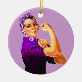 Fibromyalgia Awareness Rosie the Riveter Round Ceramic Ornament
