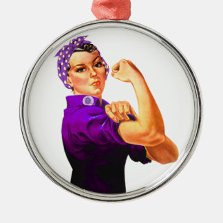 Fibromyalgia Awareness Rosie the Riveter Silver-Colored Round Ornament