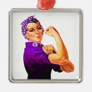 Fibromyalgia Awareness Rosie the Riveter Silver-Colored Square Ornament