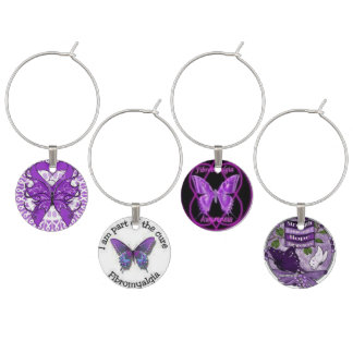 Fibromyalgia Awareness Wine Charms