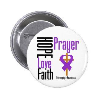 Fibromyalgia Hope Love Faith Prayer Cross 2 Inch Round Button