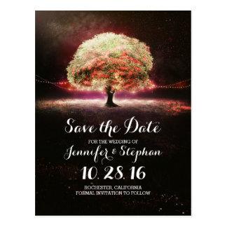 Ficelez les économies romantiques d'arbre de lumiè cartes postales