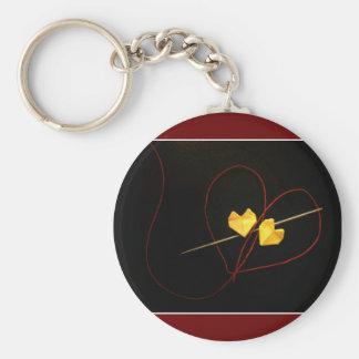 Ficelle rouge de destin porte-clé rond