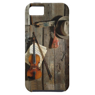 Fiddle and Hat on Barn Wall Bluegrass Music iPhone 5 Cover