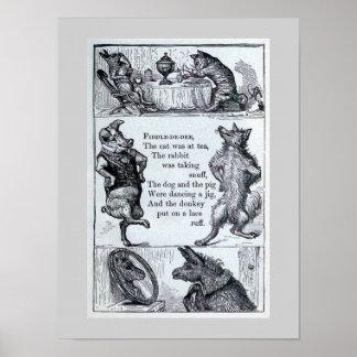 """""""Fiddle-de-dee"""" Vintage Animal Illustration Poster"""
