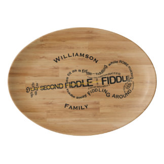 Fiddle Expressions Violin Shape Customizable Porcelain Serving Platter