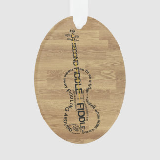 Fiddle Expressions Word Art Violin Shape Wood Look Ornament