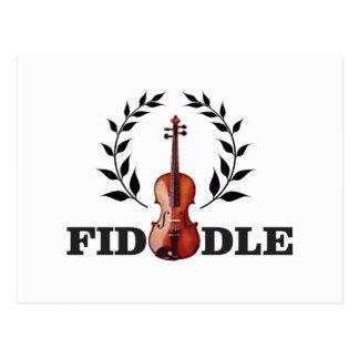 fiddle in black postcard