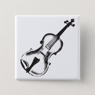 "Fiddle or Violin ""Drawing"" 2 Inch Square Button"