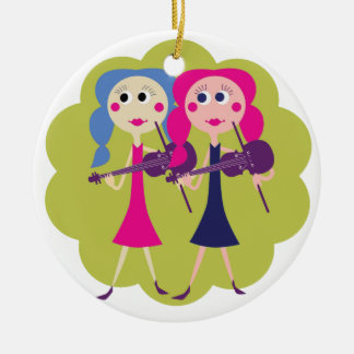 Fiddle Twins Ceramic Ornament
