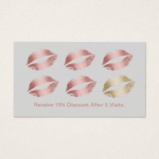 Fidélité argentée de lèvres roses d'or de cartes de visite