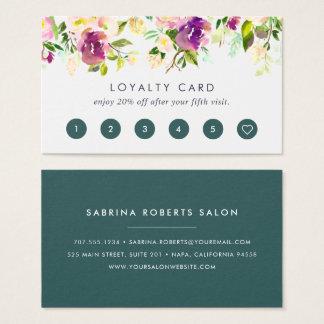Fidélité florale d'aquarelle vibrante de la fleur cartes de visite