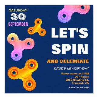 Fidget Spinner Birthday Party Invitation