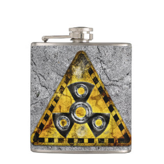 Fidget Spinner Nuclear Radiation Warning Triangle Hip Flask
