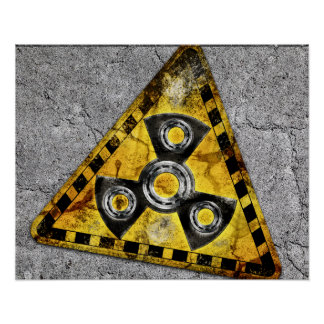 Fidget Spinner Nuclear Radiation Warning Triangle Poster
