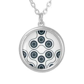 Fidget Spinner Pyramid Silver Plated Necklace