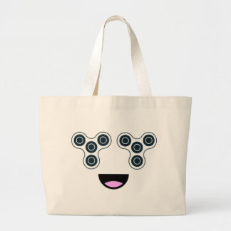 Fidget Spinner Smile Large Tote Bag