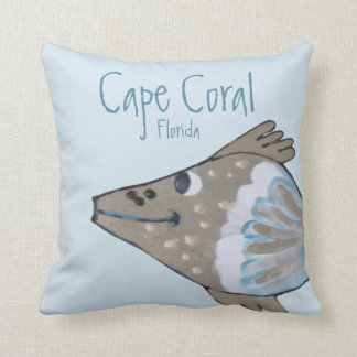 Fido Adorable Fish Art Cape Coral FL Throw Pillow