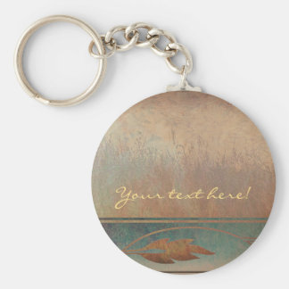 Field and Leaves Abstract Basic Round Button Keychain