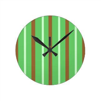 Field Green Stripes Round Clock