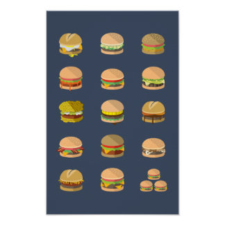 "Field Guide to Burgers - Poster 11"" x 17"""