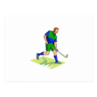 Field Hockey man blue green Postcard